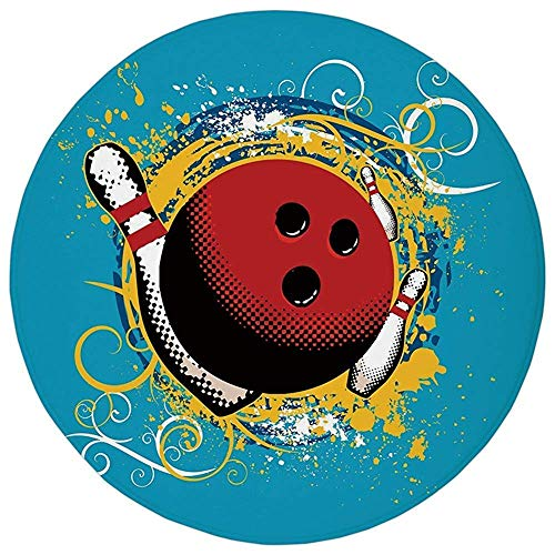 Round Rug Mat Carpet,Bowling Party Decorations,Fun Hobby Retro Ball Floral Swirls Color Splashes Pop Art,Blue Red Yellow,Flannel Microfiber Non-Slip Soft Absorbent,for Kitchen Floor (Fun Rugs Round Ball)