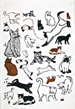 Animal Playful Cats Hand Towels: Artistic Pet Design, Black Brown White, Set of 2