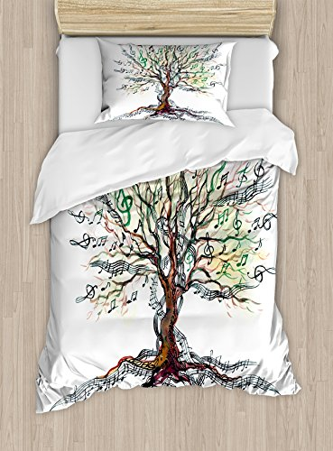 Twin Trunk (Music Duvet Cover Set Twin Size by Ambesonne, Musical Tree Autumnal Clef Trunk Swirl Nature Illustration Leaves Creative Design, Decorative 2 Piece Bedding Set with 1 Pillow Sham, Multicolor)