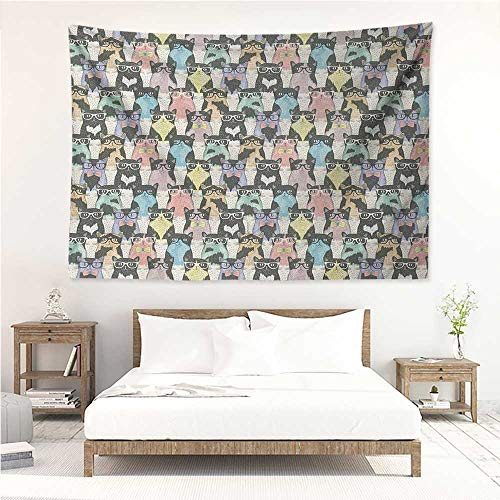 Cat,Wall Decor Tapestry Pattern with Hipster Playful Feline Characters with Glasses and Bowties Vintage Style 60W x 51L inch Tapestry Wallpaper Home Decor Multicolor