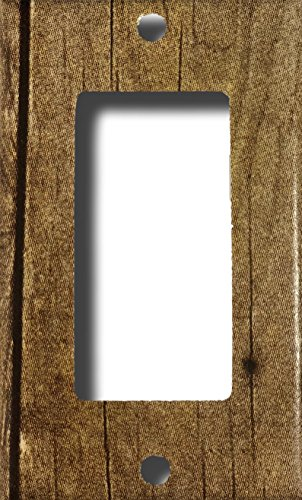 (Barn Wood Design Rocker Light Switch or Outlet Wall Plate)