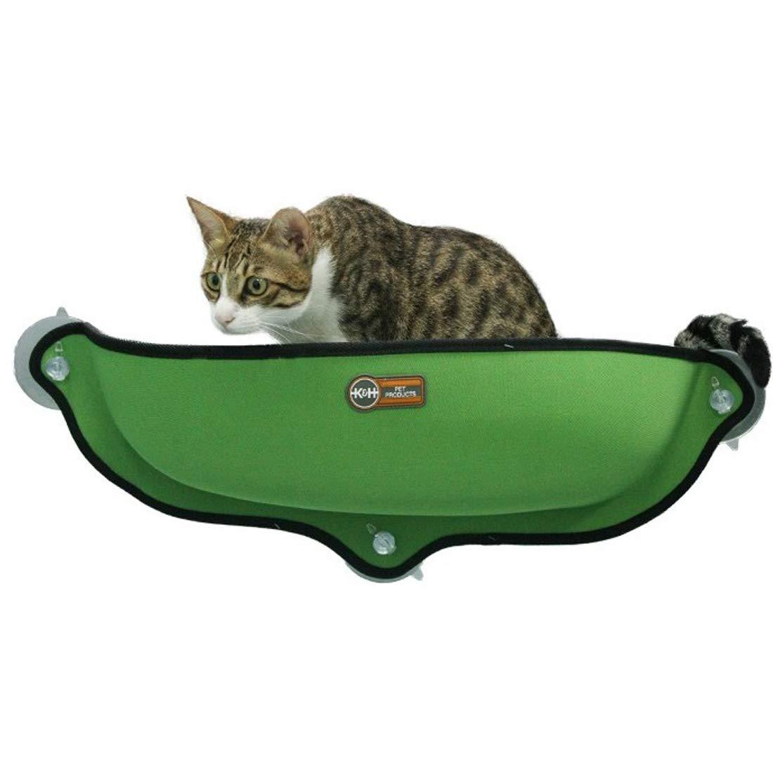 A Cat Window Hammock Pet Sunny Seat Window-Mounted Cat Bed Window Cat Bed Semi-Closed Deep Sleep Fossa Sunbathing Cat Mat Sunbathing + Daydreaming 68 × 28CM Can Bear 15KG,A