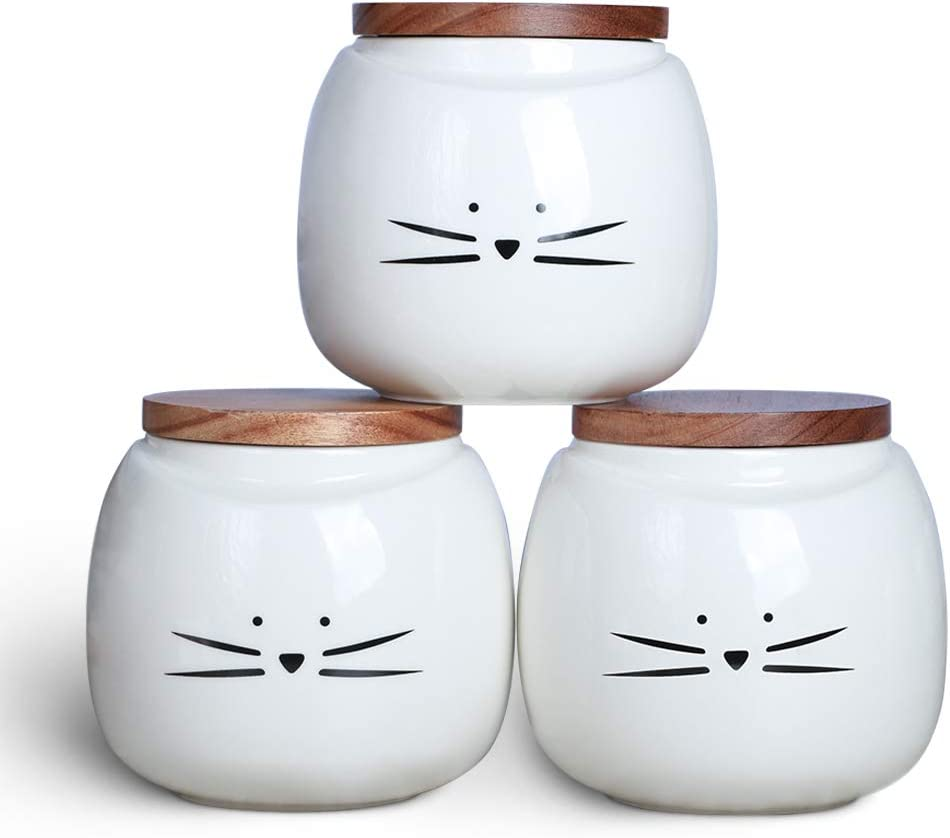 Koolkatkoo Ceramic Cat White Canister Set Coffee Tea Sugar Food Storage with Bamboo Lid for the Kitchen Canister Round Set of 3