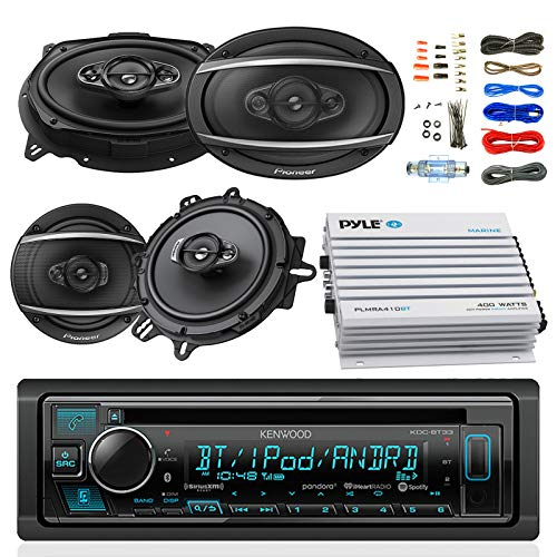 "Kenwood KDCBT33 Car Bluetooth Radio USB AUX CD Player Receiver - Bundle with 2X TSA1670F 6.5"" 3-Way Car Audio Speakers - 2X 6.5-6.75"" 4-Way Stereo Speaker + 4-Channel Amplifier + Amp Kit"