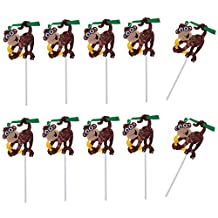 Fenteer 10x Tropical Safari Animals Cupcake Topper Birthday Baby Shower Cake Decorations - Monkey