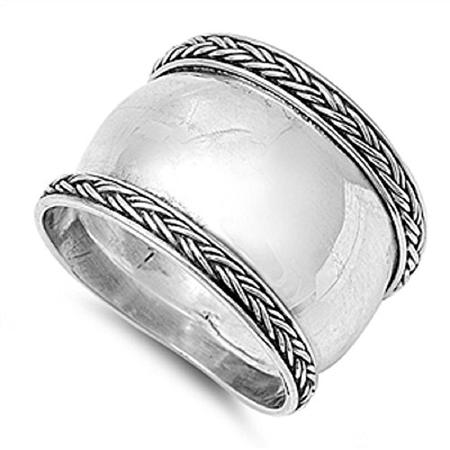 Bali Jewelry: 925 Sterling Silver Oxidized Antique Finish Bali Design Ring (8)