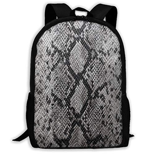 Backpack For Girls Boys Snakeskin Grey Zipper School Bookbag Daypack Travel Rucksack Gym Bag For Man -