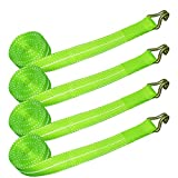 Vulcan Hi-Viz Winch Straps With Wire J-Hooks - 3,300 lbs. Safe Working Load (2'' x 15' - Pack of 4)