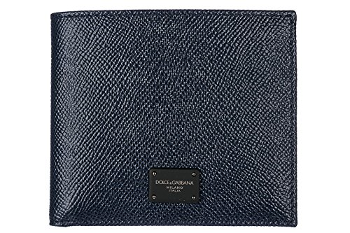 Dolce Gabbana Leather Purse - Dolce&Gabbana men's genuine leather wallet credit card bifold blu