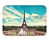 Beshowere Doormat eiffel tower and fountain at jardins du trocadero paris france travel background with retro