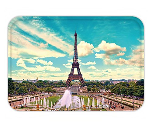 Beshowere Doormat eiffel tower and fountain at jardins du trocadero paris france travel background with retro by Beshowere