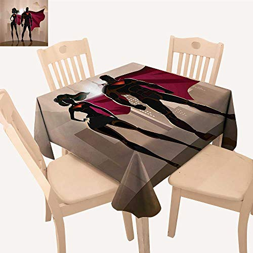 UHOO2018 Square/Rectangle Polyester Table Cloth Super Woman Man Heroes City Hot Couple Costume Easy Care Spillproof,50x 50inch]()