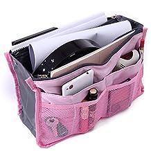 HDE Expandable Handbag Insert Purse Organizer with Handles (Pink)