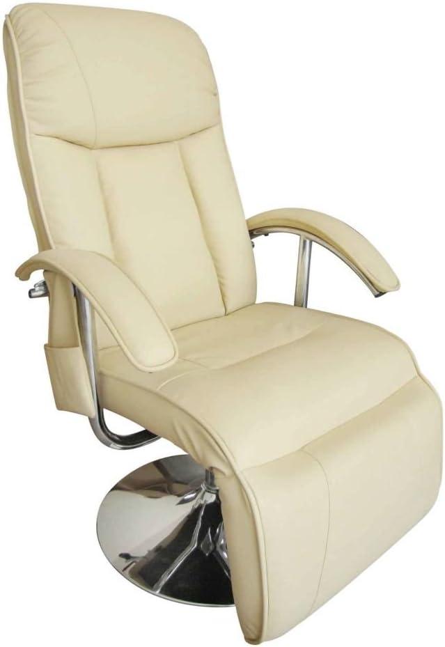 Furnituredeals fauteuil relaxation electrique Fauteuil de massage electrique Cuir artificiel Creme fauteuil releveur electrique