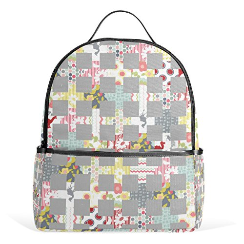 Sunlome Cherry House Quilts Pattern Laptop Backpack Casual Shoulder Daypack for Student School Bag Handbag - (Casual Light Cherry)