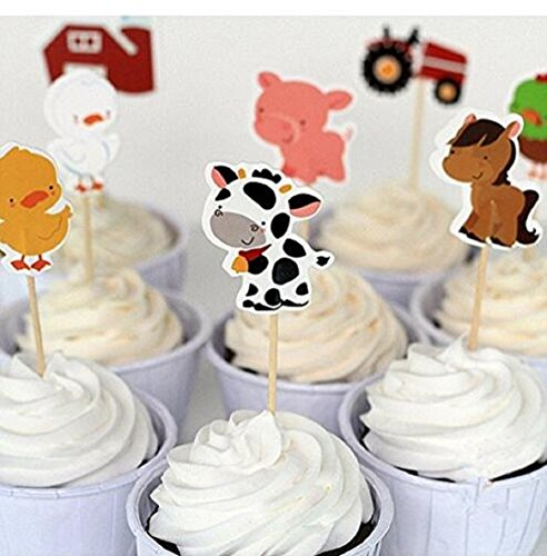 Wendin-Set-of-24-Farm-Animals-Cake-Cupcake-Decorative-Cupcake-Topper-for-Kids-Birthday-Party-Themed-Party-Baby-Shower