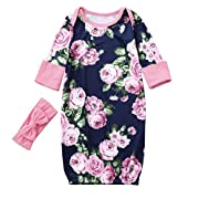 Newborn Baby Girls Long Sleeves Floral Print Sleeping Bag+Bow Headband Suit Sets Autumn Winter Clothes (0-6 Months, Pink)