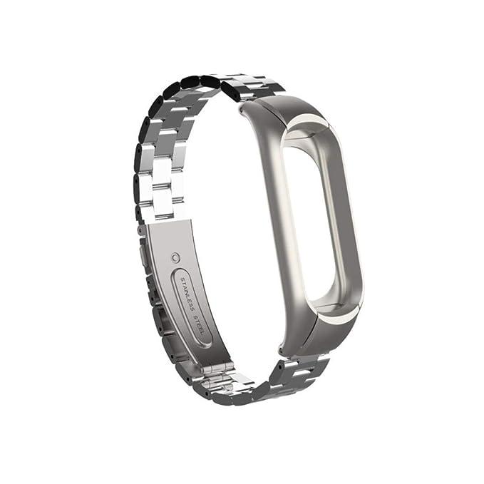 para Xiaomi Mi Band 3, ☀️Modaworld Moda Pulsera de Repuesto de Acero Inoxidable Pulsera de Metal para Xiaomi Mi Band 3 Correa Correa de Reloj ...