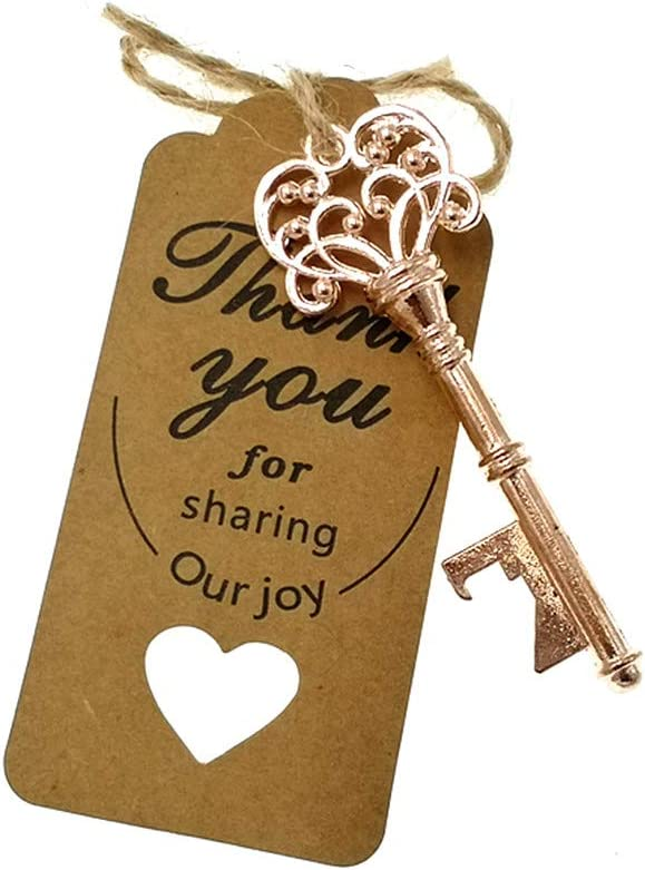Kinteshun Skeleton Key Bottle Opener with Escort Tag and Jute Rope for Wedding Party Favor 50sets,Rose Gold Tone