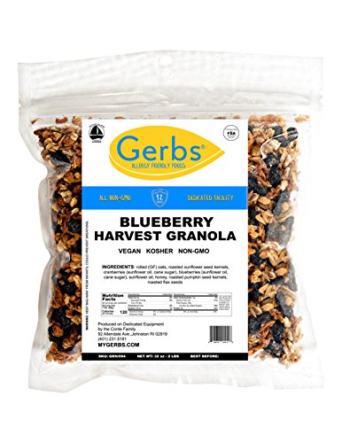 Cape Cod Blueberry Granola, 2 LBS By Gerbs - Top 12 Food Allergy Free & NON GMO - Preservative Free & Kosher - Made in Rhode Island