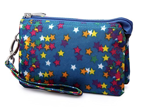 Crest Design Water Repellent Nylon Wristlet Clutch Wallet Cell Phone Pouch (Blue (Nylon Water)