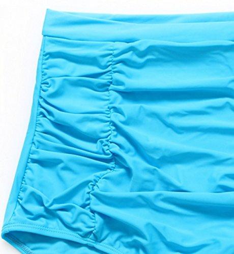 KUWOMINI.Bikini Europa Aumento Punto Traje De Baño De Cintura Alta Se Reúnen Traje De Baño Skyblue