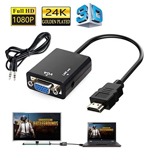 HDMI to VGA, Gold-Plated 1080P Active HDMI to VGA Adapter Video Converter Male to Female with Micro USB and 3.5mm Audio Port Cable for PC/Laptop/DVD