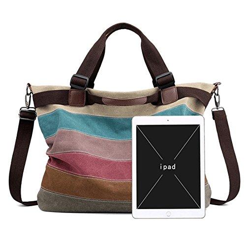 Canvas Handbags Colour Klerokoh color Colore Stitching Women's FB5zwxqA