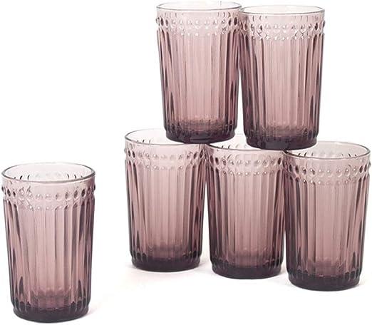 Gerimport Pack de 6 Vasos de Cristal Lila Medidas 8x8x13 cm Capacidad 356 ml: Amazon.es: Hogar