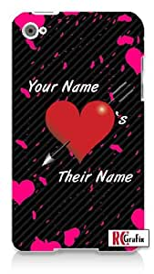 Personalized His Her Name Valentine's Day Custom Apple ipod 4 Quality Hard Case Snap On Skin for ipod 4/4G (WHITE)