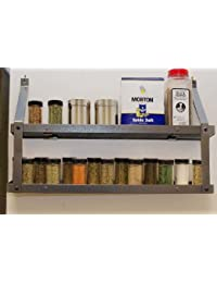CheckOut 2-tier Gourmet Spice Rack: Hammered Steel & Black Wood occupation