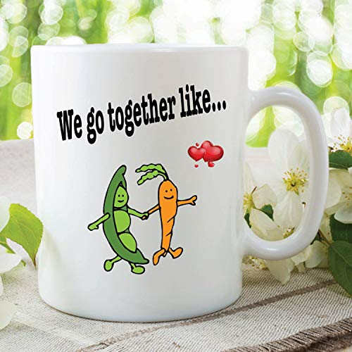 Funny Novelty Joke Mug We Go Together Like Peas And Carrots Printed Ceramic Mug Gift For Boyfriend Girlfriend Wedding Anniversary, 11oz, 15oz, gift