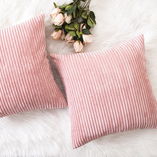 HOME BRILLIANT Set of 2 Decor Decorative Soft Velvet Corduroy Striped Square Throw Pillow Cushion Cover for Bench, 20 x 20 inch (50cm), Baby Pink