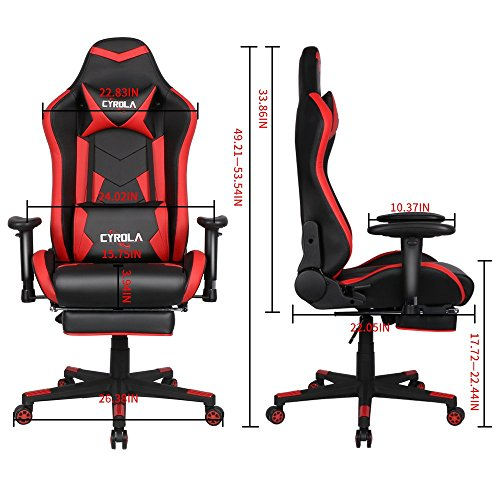 comfortable gaming chair 1000 dollar cyrola large size real pu leather high back comfortable gaming chair with footrest pc racing