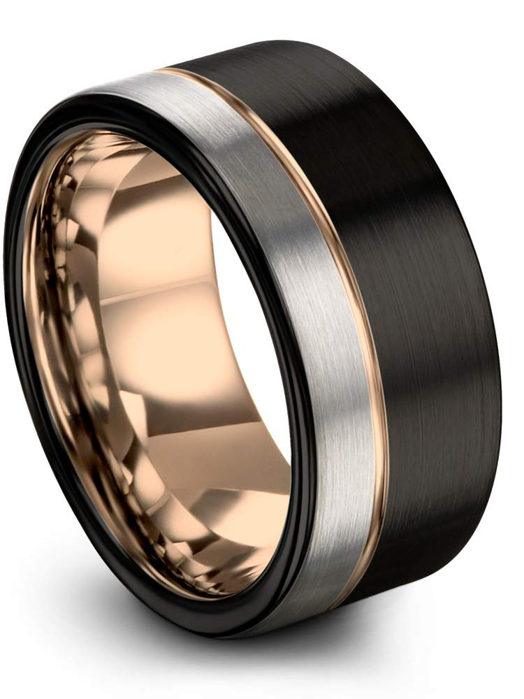 Midnight Rose Collection Tungsten Wedding Band Ring 12mm for Men Women 18k Rose Gold Plated Flat Cut Off Set Line Black Grey Half Brushed Polished Size 8.5