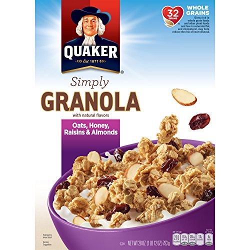 - Quaker Granola Oats, Honey, Almonds & Raisins, 100% Natural, 28 Ounce