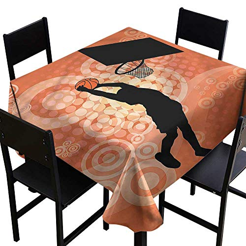 Basketball Stain Resistant Square Tablecloth Basketball Dunk Athlete High-end Durable Creative Home 60 x 60 Inch