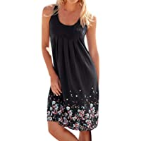 c95aab4442e Womens Ladies Casual O-Neck Print Sleeveless Midi Dress Summer Loose Ruched  Club Party Camis