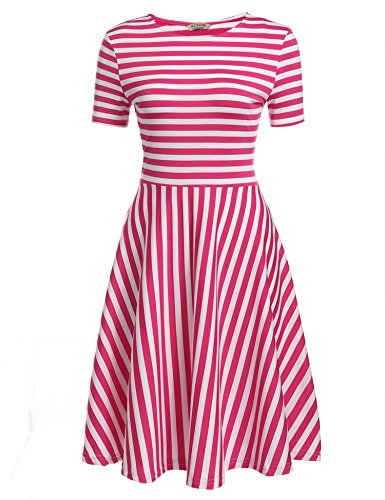ACEVOG-Women-O-Neck-Short-Sleeve-Striped-Summer-Casual-Flared-A-Line-Dress