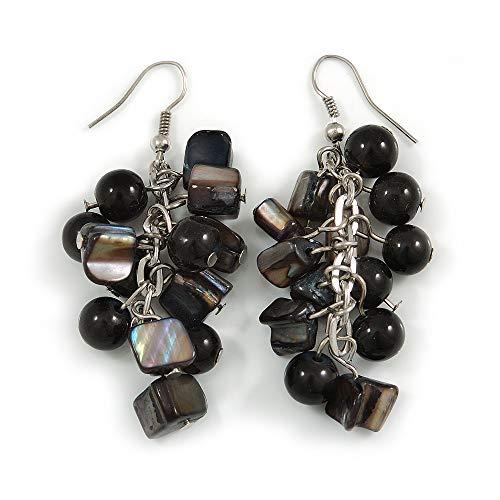 Black Glass Bead, Shell Nugget Cluster Dangle/Drop Earrings In Silver Tone - 60mm Long