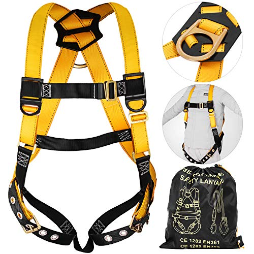Happybuy Roofing Fall Protection Safety Harness Full Body Fall Arrest Harness with 1 Rear D-Ring and Tongue Buckle Legs for Aerial lift Iron Worker Scaffolding Tower Carpenter (Yellow Full Body)