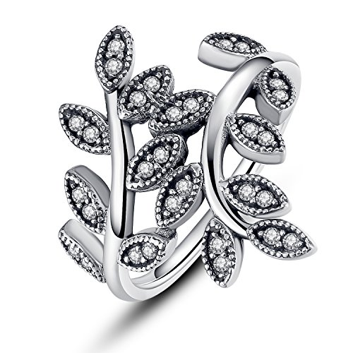 Bamoer New Vintage Elegant Marcasite Vine Leaf Design Cubic Zirconia Diamond Wrap (Leaf Design Diamond)
