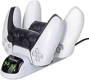 TwiHill Carregador de gamepad sem fio para PS5, carregador de gamepad PS5, carregador de controlador PS5 com adaptador, acessórios PS5