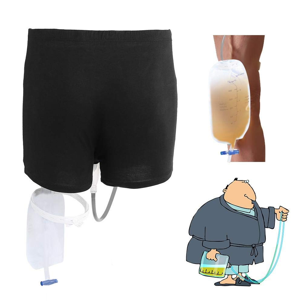 Wearable Urine Bag Incontinence Pants for Men, Urinal System With Collection Bag Portable Leak Proof Leg Pee Holder for Elder