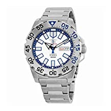 Seiko 43mm Sports 5 Automatic 24-Jewel Watch with Silver Dial and Blue Accents SRP481K1