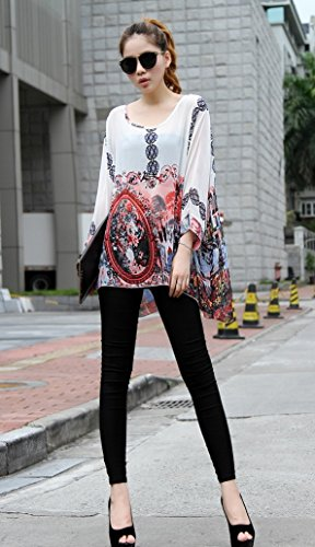 Chic Mode Femme Souris Cache de Boheme Chemise Up de 4 Maillots Cover Hippie Manche Blouse Top Imprimee Mousseline de Chauve Soie en 3 Caftan Bain Tunique Haut 09 Bikini Kimono Multicolore Plage Floral Beachwear xwYYa87q