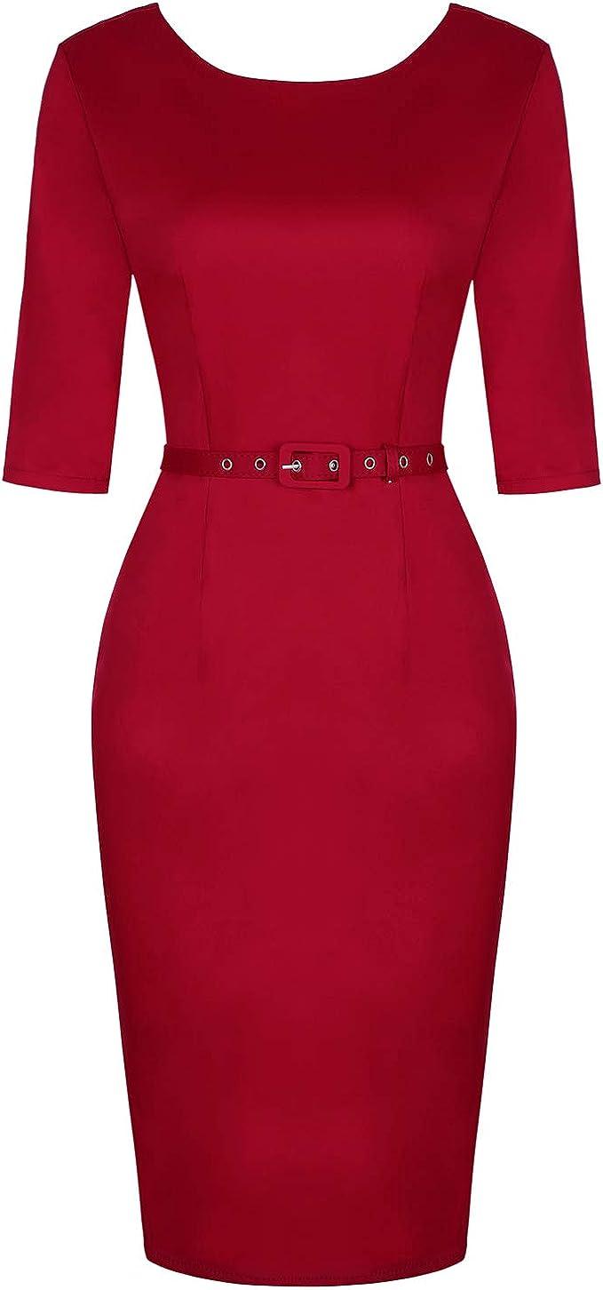 MINTLIMIT Damen 20s Vintage Kleid Bleistiftkleid 20/20 Ärmel Business  Kleider mit Abnehmbaren Gürtel