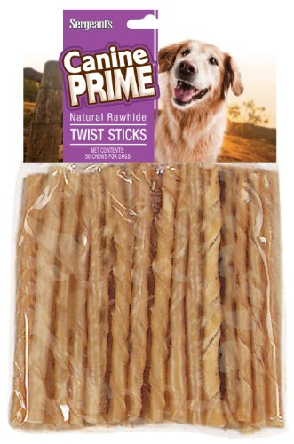 50pk Rawhide (Sergeant's Canine Prime 5 inch Rawhide Twist Sticks for Dogs, 50 count)