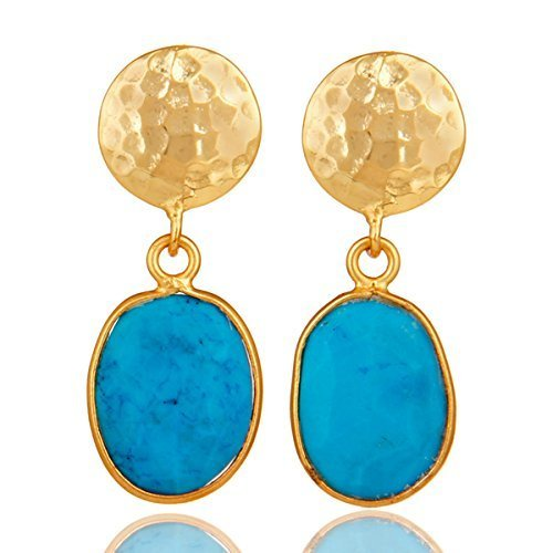 Blue Turquoise Drop Earrings Gold Plated 925 Sterling Silver Bezel Jewelry