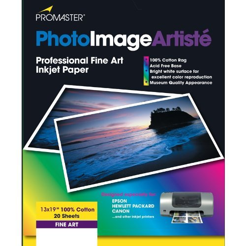 PhotoImage Artiste Fine Art Inkjet Paper - 100% Cotton - 13 x 19'' - 20 Sheets